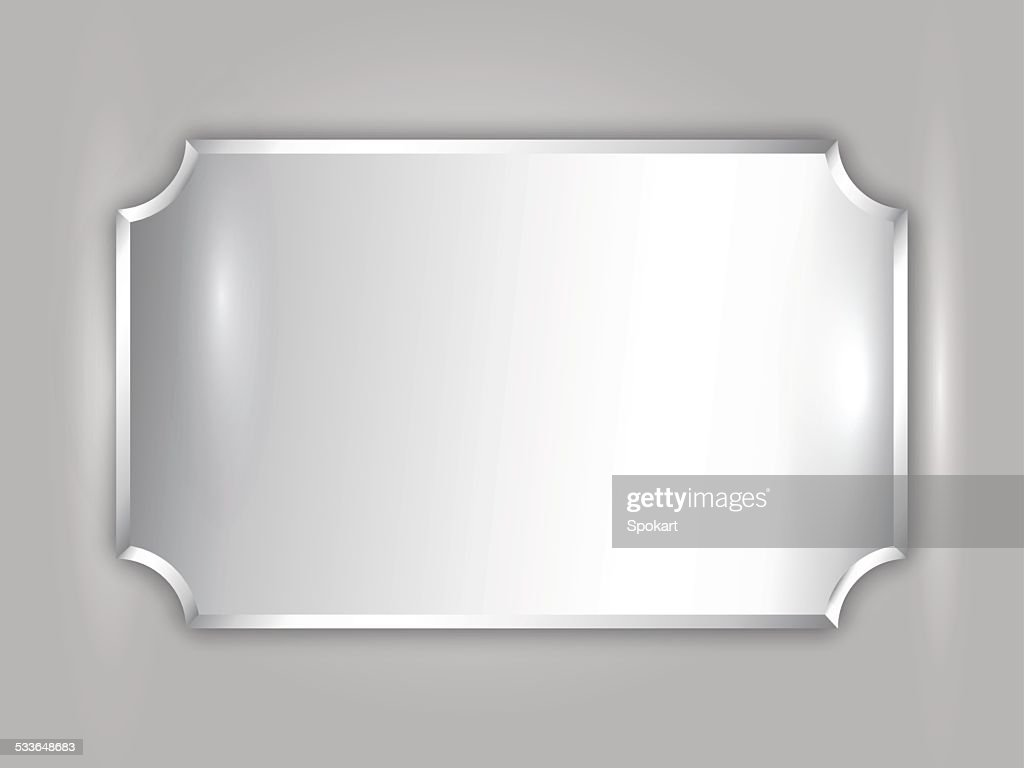 Vector abstract precious metal silver award plate