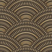 Vector abstract seamless geometrical wavy background from golden and black fan shaped ornate feathers and banners with ethnic patterns. Fish scale order.Batik painting. Oriental textile print. Art deco wallpaper,wrapping paper, covering