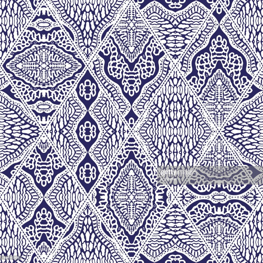 Vector abstract seamless patchwork pattern from dark blue and white ethnic ornaments. Wallpaper background. Exotic batik, fantasy ikat tracery, textile print design, wrapping paper, album cover