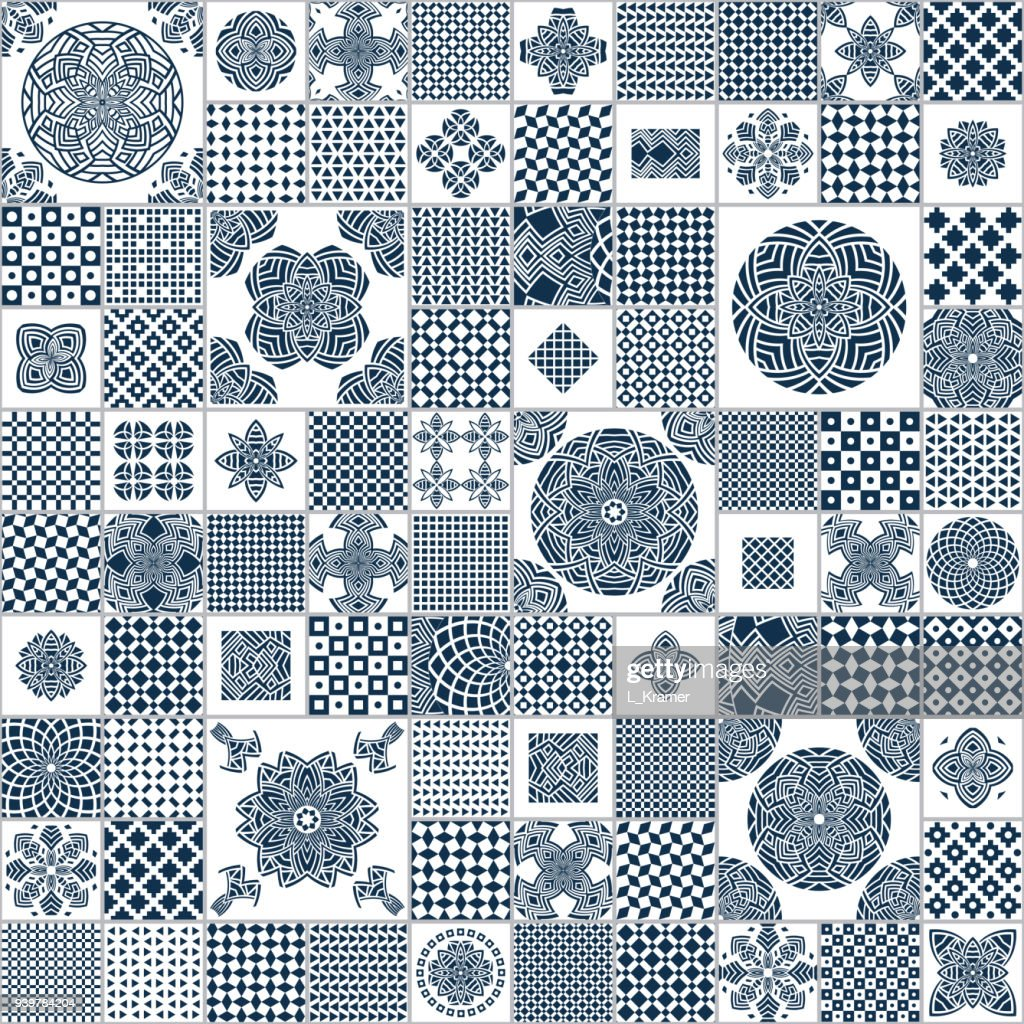 Vector abstract seamless patchwork pattern from indigo blue and white geometrical ethnic ornaments. Wallpaper background. Exotic batik, fantasy textile print design, wrapping paper, cover