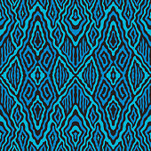 Vector abstract seamless pattern with dark blue and turquoise stripes, rhombus on a black background. Exotic batik, fantasy ikat ornament, textile print design, wallpaper, wrapping paper, tie dye decoration