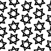 Vector Abstract seamless pattern with the Star of David. Background for the design of posters, cards, flyers, for the holiday of Hanukkah. Retro style. Hand drawing.
