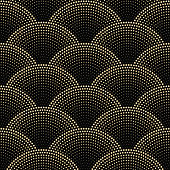 Vector abstract seamless wavy pattern with geometrical fish scale layout. Golden metallic stars on a dark black background. Fan shaped Christmas garlands. Holiday firework gold decoration, wrapping paper, wallpaper