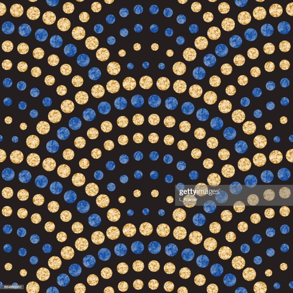 Vector abstract seamless wavy pattern with geometrical fish scale layout. Watercolor  blue and golden water drops on a black background.Peacock tail shape,fan silhouette.Textile print, page fill,batik