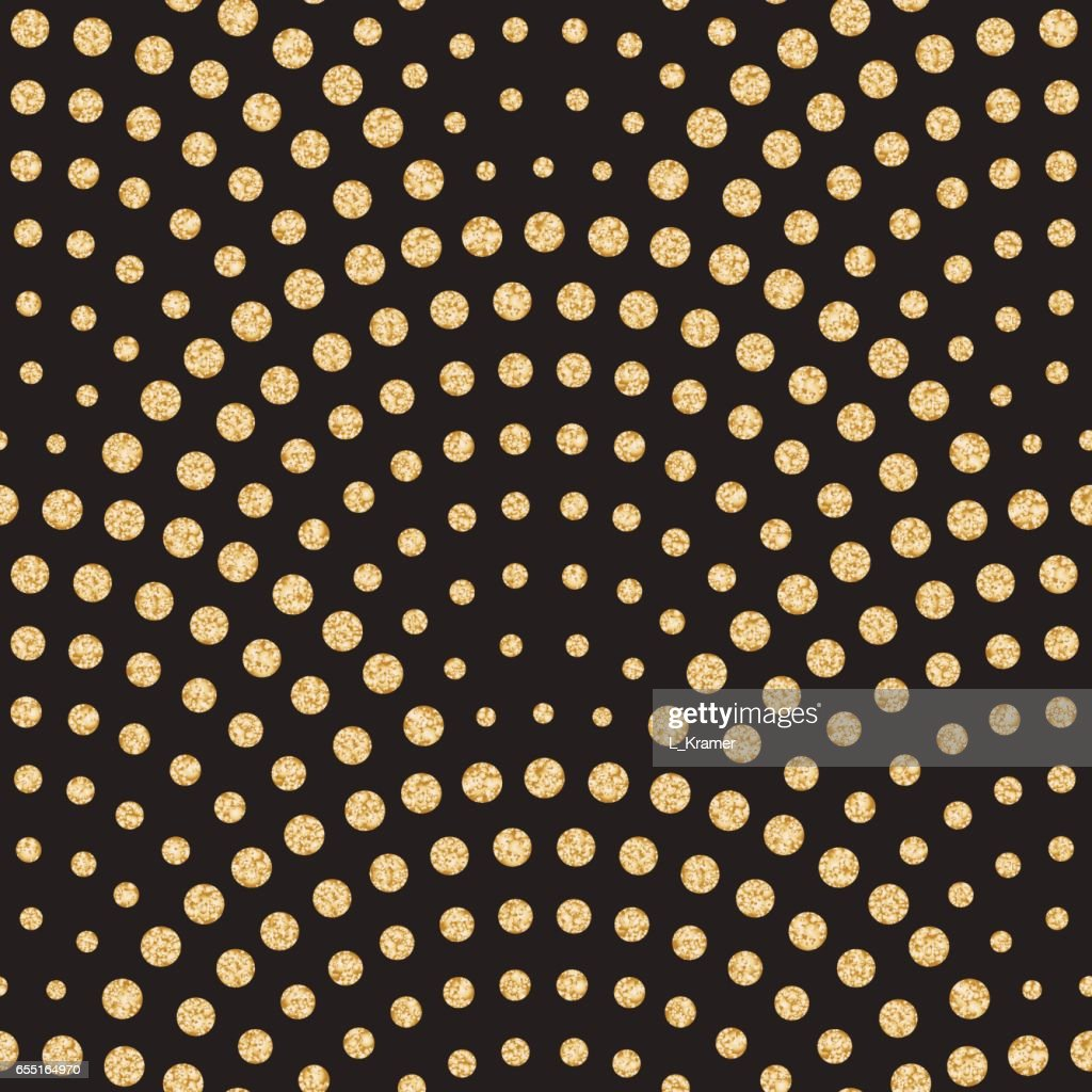 Vector abstract seamless wavy pattern with geometrical fish scale layout. Light small metallic gold water drops on a black background.Peacock tail shape,fan silhouette.Wallpaper, print, wrapping paper