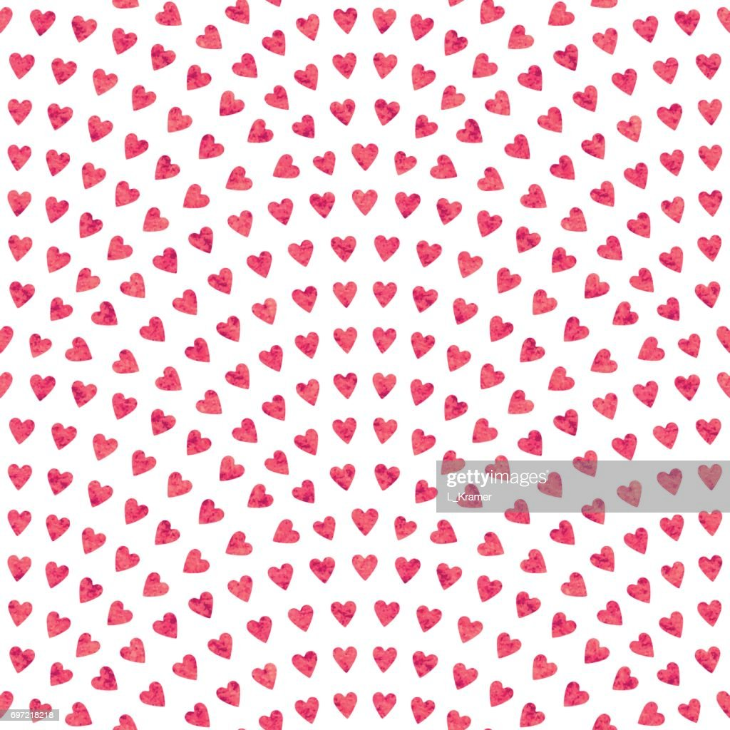 Vector abstract seamless wavy pattern with geometrical fish scale layout. Red mosaic stylized hearts  with watercolor painting texture on a light white background. Fan shaped Valentine Day ornament. Holiday decoration.Wrapping paper