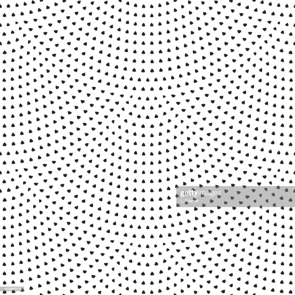 Vector abstract seamless wavy pattern with geometrical fish scale layout. Light small black drop-shaped elements on a white background. Art deco wallpaper, wrapping paper, chintz textile, page fill