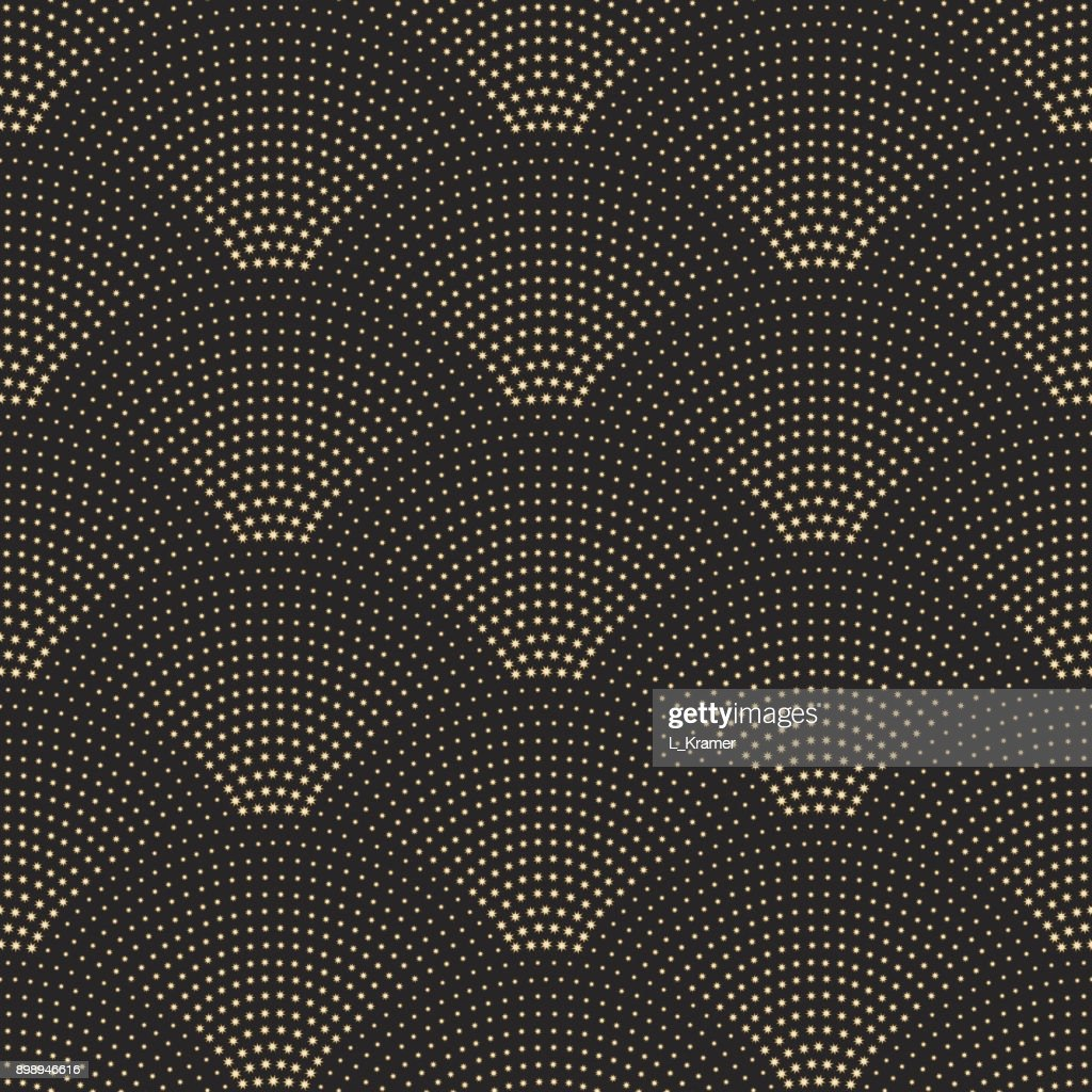 Vector abstract seamless wavy pattern with geometrical fish scale layout. Golden metallic stars on a dark black background. Fan shaped Christmas garlands. New Year snowflake holiday decoration.