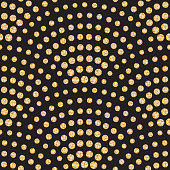 Vector abstract seamless wavy pattern with geometrical fish scale layout. Light small metallic gold water drops on a black background. Peacock tail shape, fan silhouette. Wallpaper, print, wrapping, page fill