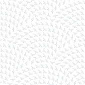 Vector abstract seamless wavy pattern with geometrical scale order. Grey blue hand drawn contour dove birds flying on a white background. Fan shaped wallpaper print, web page, wrapping