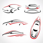 Vector abstract set of cars in red and black