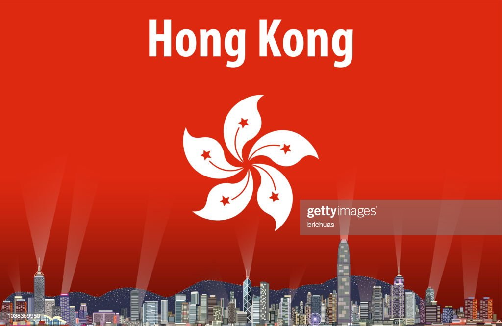 vector abstract travel card with flag and skyline of Hong Kong