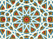 Vector abstract volumetric geometric background. Based on islamic ethnic ornaments. 3d extruded ornament elements. Elegant background for cards, invitations etc.