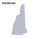 Vector abstract wave map of State of New Hampshire isolated on a white background.