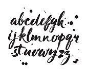 Vector Acrylic Brush Style Hand Drawn Alphabet Font