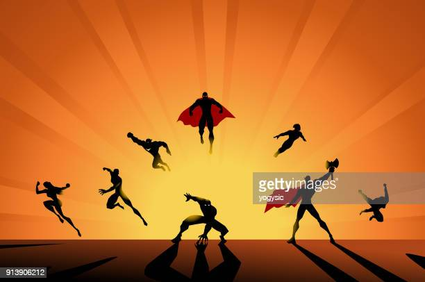 vector action superhero team silhouette - action movie stock illustrations