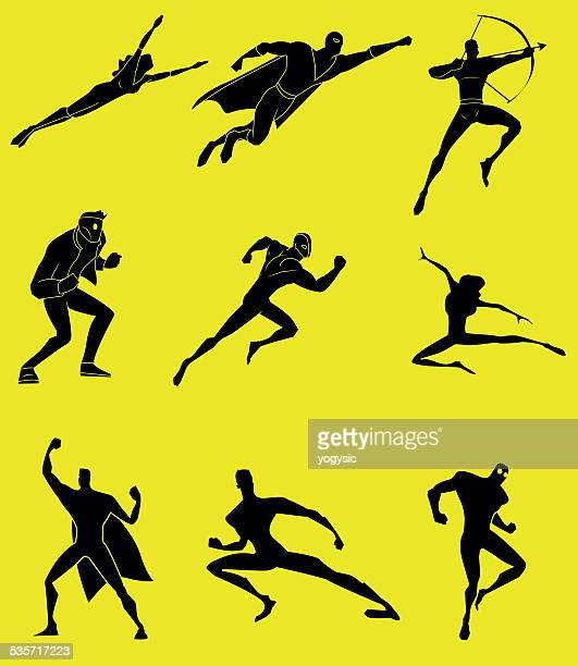 vector action superheroes silhouette set - archery stock illustrations
