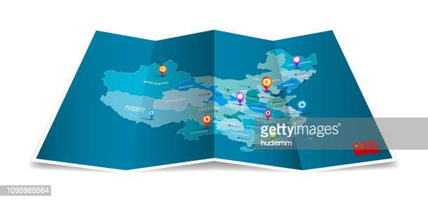vector administrative map of china with folded paper isolated - sichuan province stock illustrations