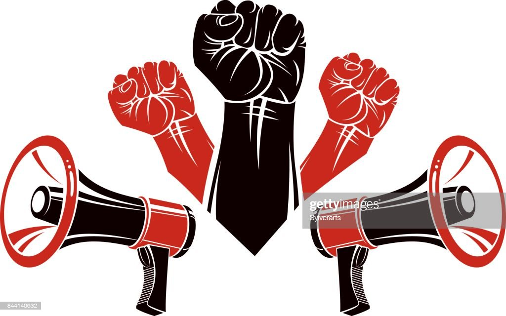 Vector advertising poster created using clenched fists raised up and loudhailers equipment. Propaganda as the means of manipulation and control.