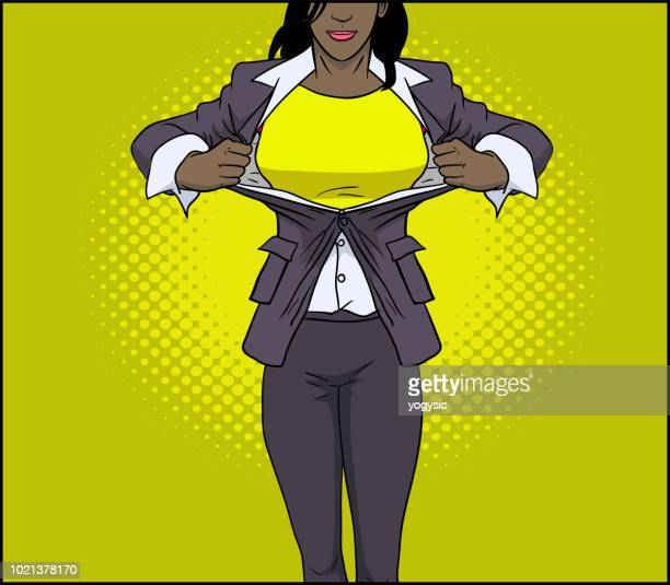 vector african american superhero woman transformation - heroines stock illustrations
