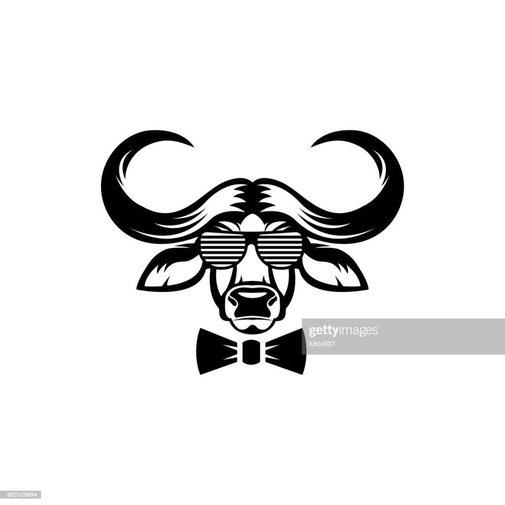 Vektor Afrikanischer Büffel Kopf Gesicht Für Retrohipstersymbole ...