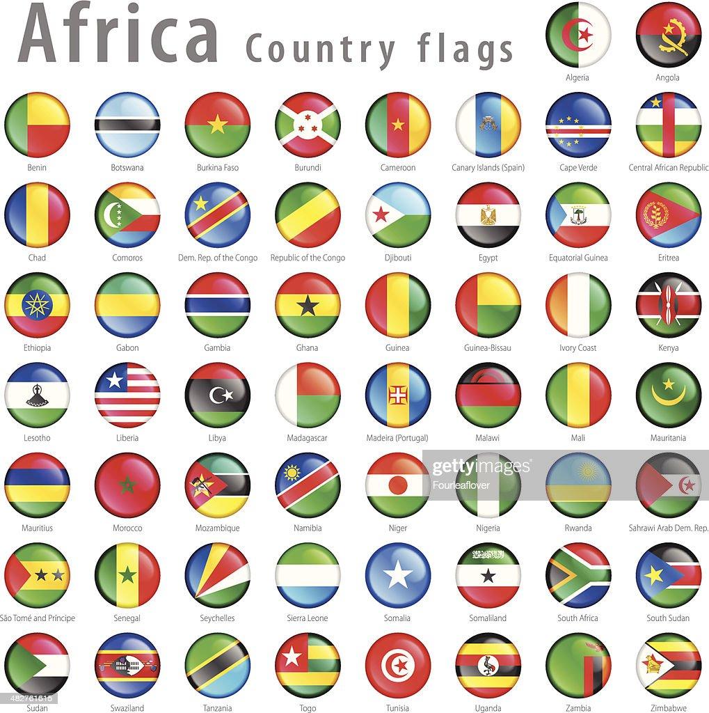 Vector African National Flag Button Set