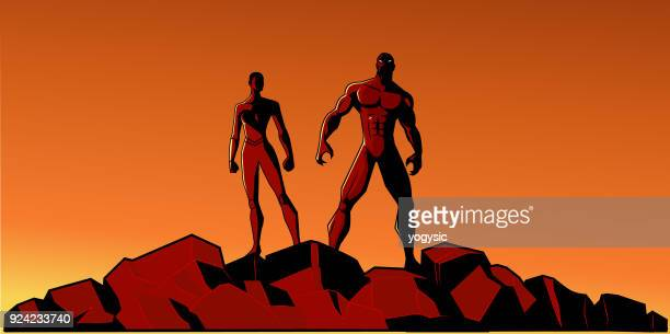 illustrations, cliparts, dessins animés et icônes de illustration vectorielle superhero africaine couple silhouette - personnage bd