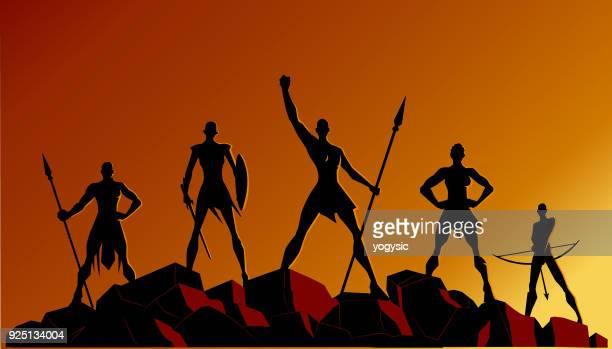 illustrations, cliparts, dessins animés et icônes de vecteur des femmes africaines superhero équipe silhouettes sur les rochers - femme africaine