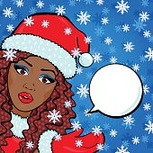 Vector afro american woman face close up, Snow Maiden pop-art