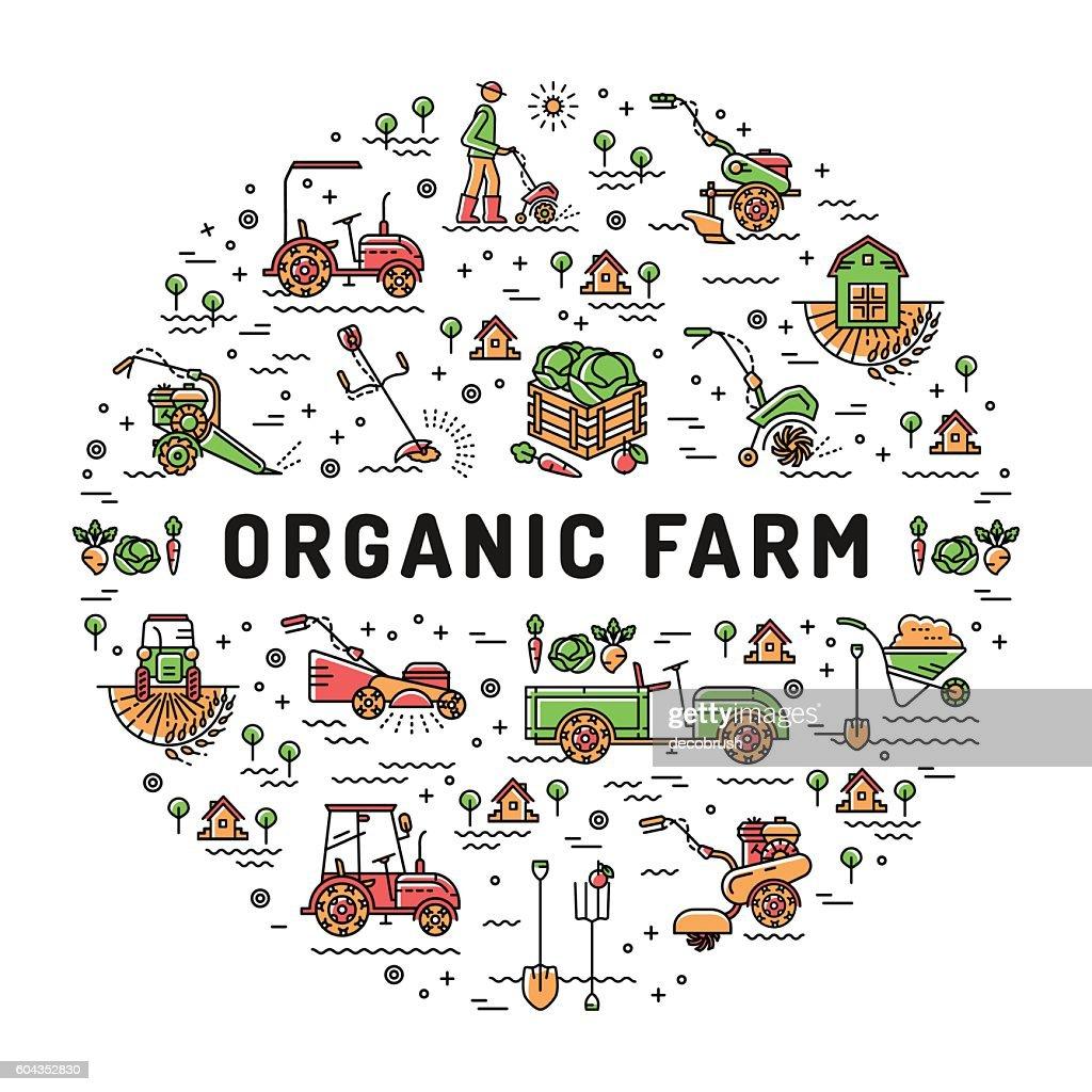 Vector agriculture Organic Farm line icons, Garden tiller, farm machines