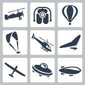 Vector aircrafts icons set