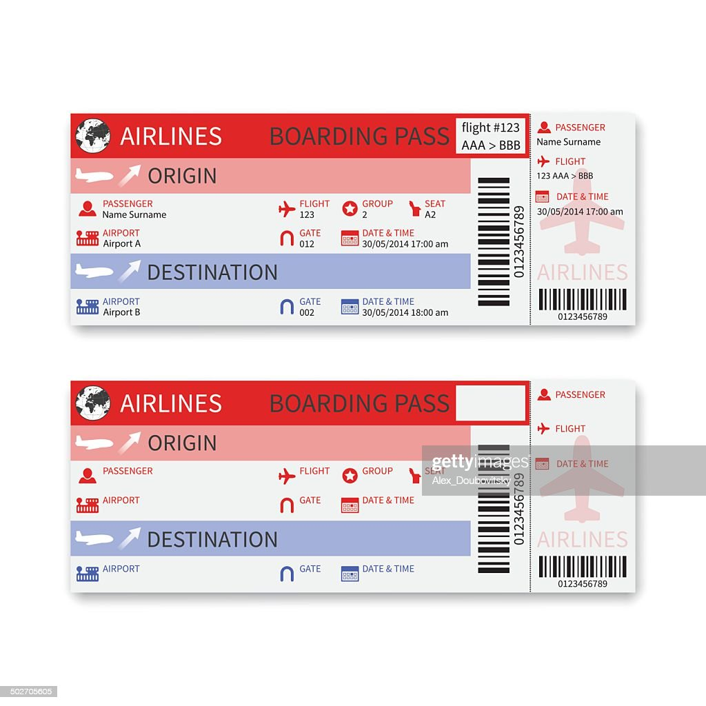 Vector airline boarding pass ticket isolated on white background.