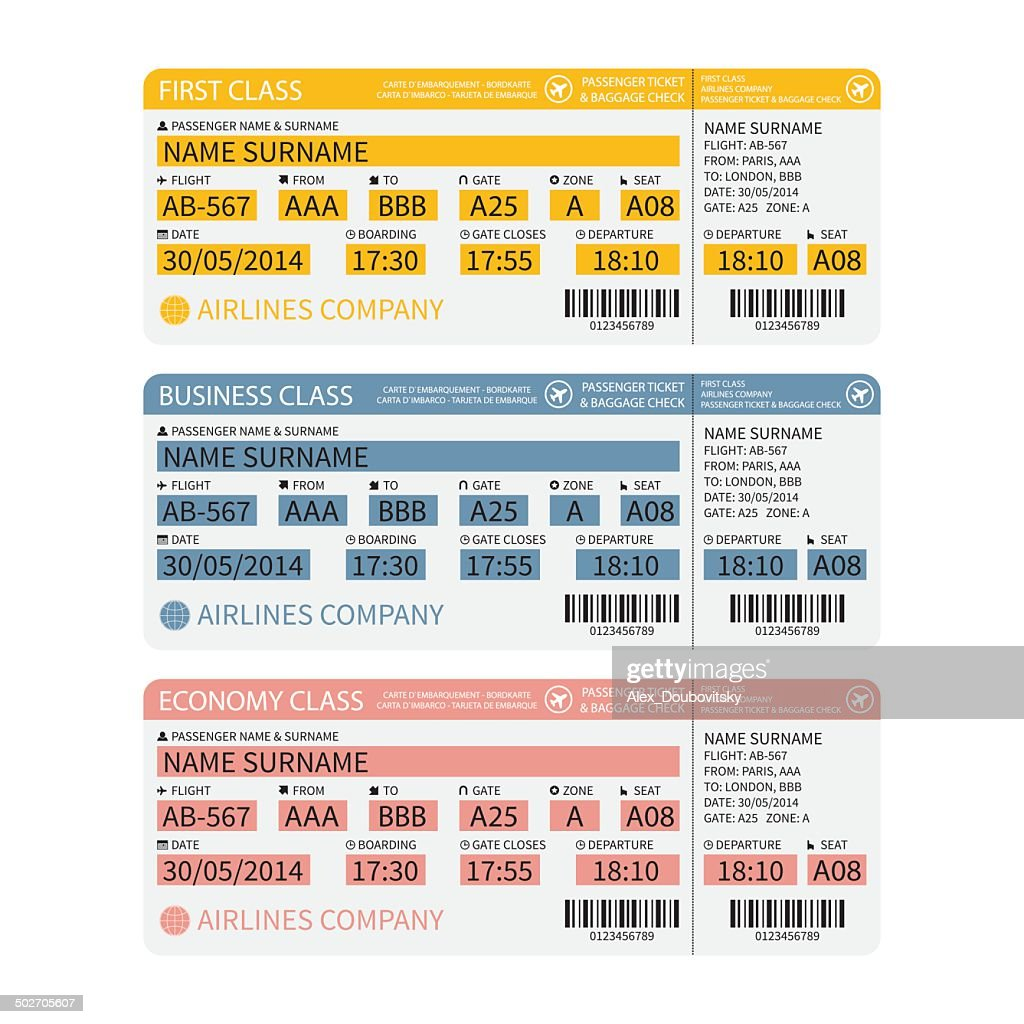 Vector airline passenger and baggage tickets with barcode.