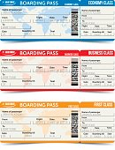 Vector airline passenger and baggage tickets with barcode