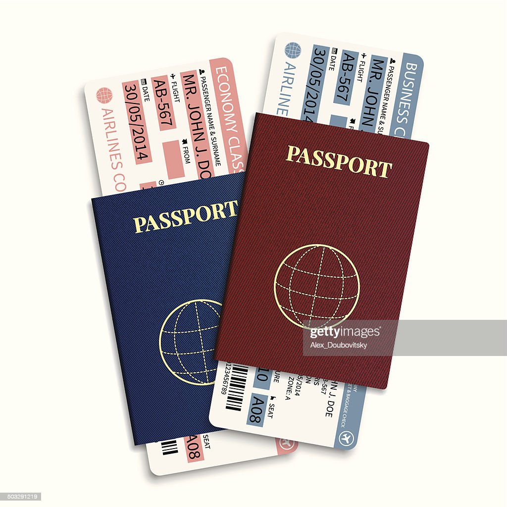 Vector airline passenger tickets with barcode and international passport.