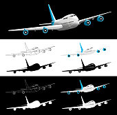 Vector Airplane 45 Degrees Front View Silhouette