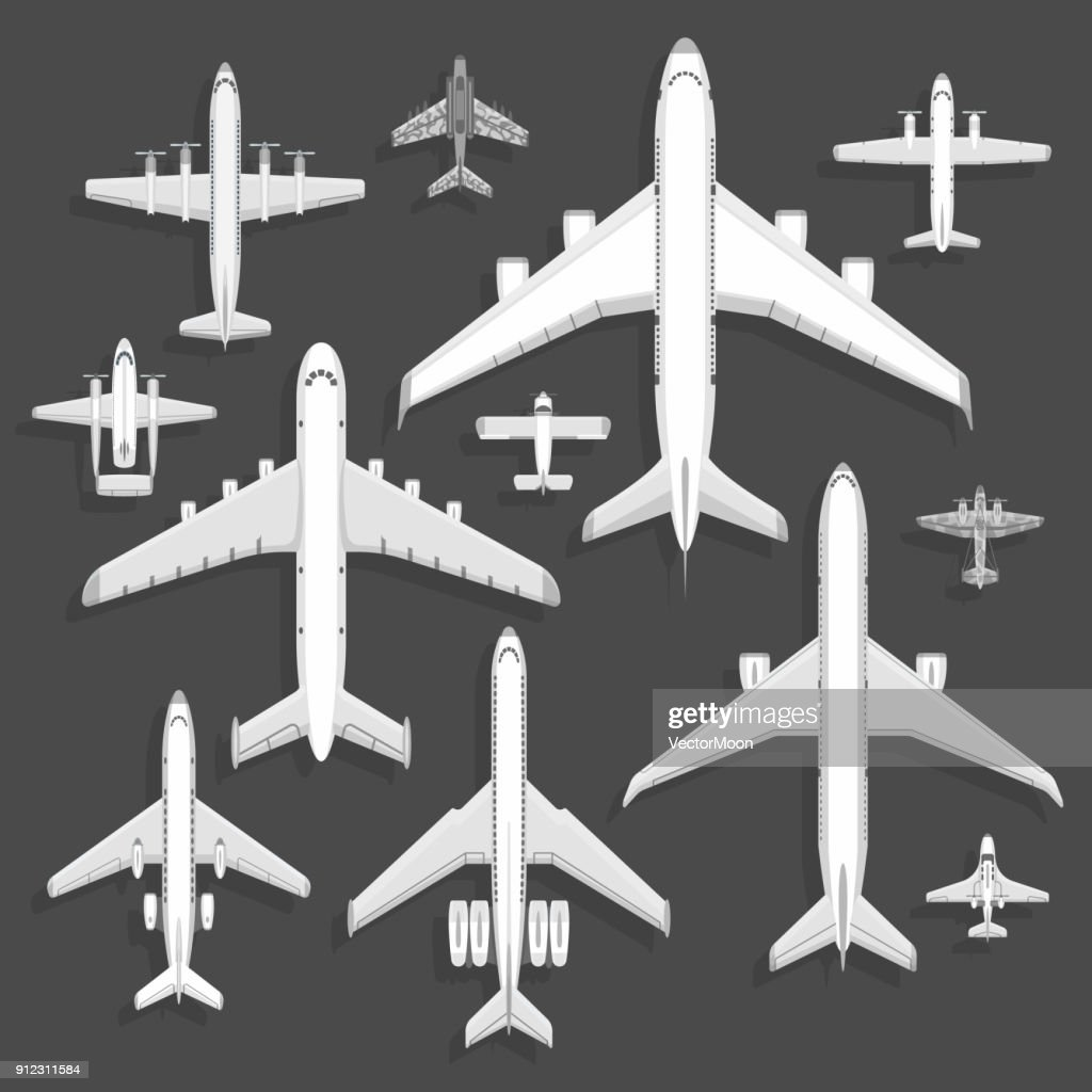 Vector airplanes icons top view vector illustration isolated on background. Travel by airport flight vacation transport passenger plane. Turbine voyage pilot plane jet