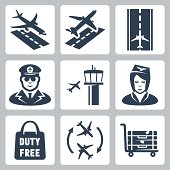 Vector airport icons set