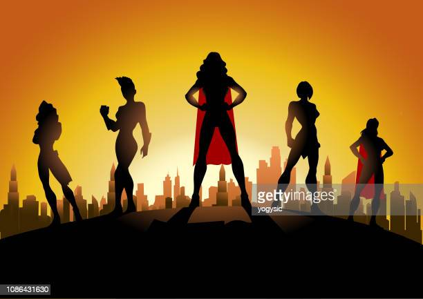 vector all female superhero team silhouette in the city - heroines stock illustrations