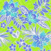 Vector Aloha Tiki seamless pattern, stamped tropicana theme, with aztec background.