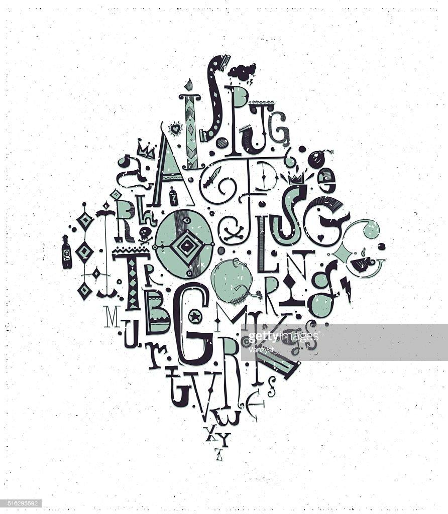 Vector alphabet. Hand drawn decorative letters, green, black