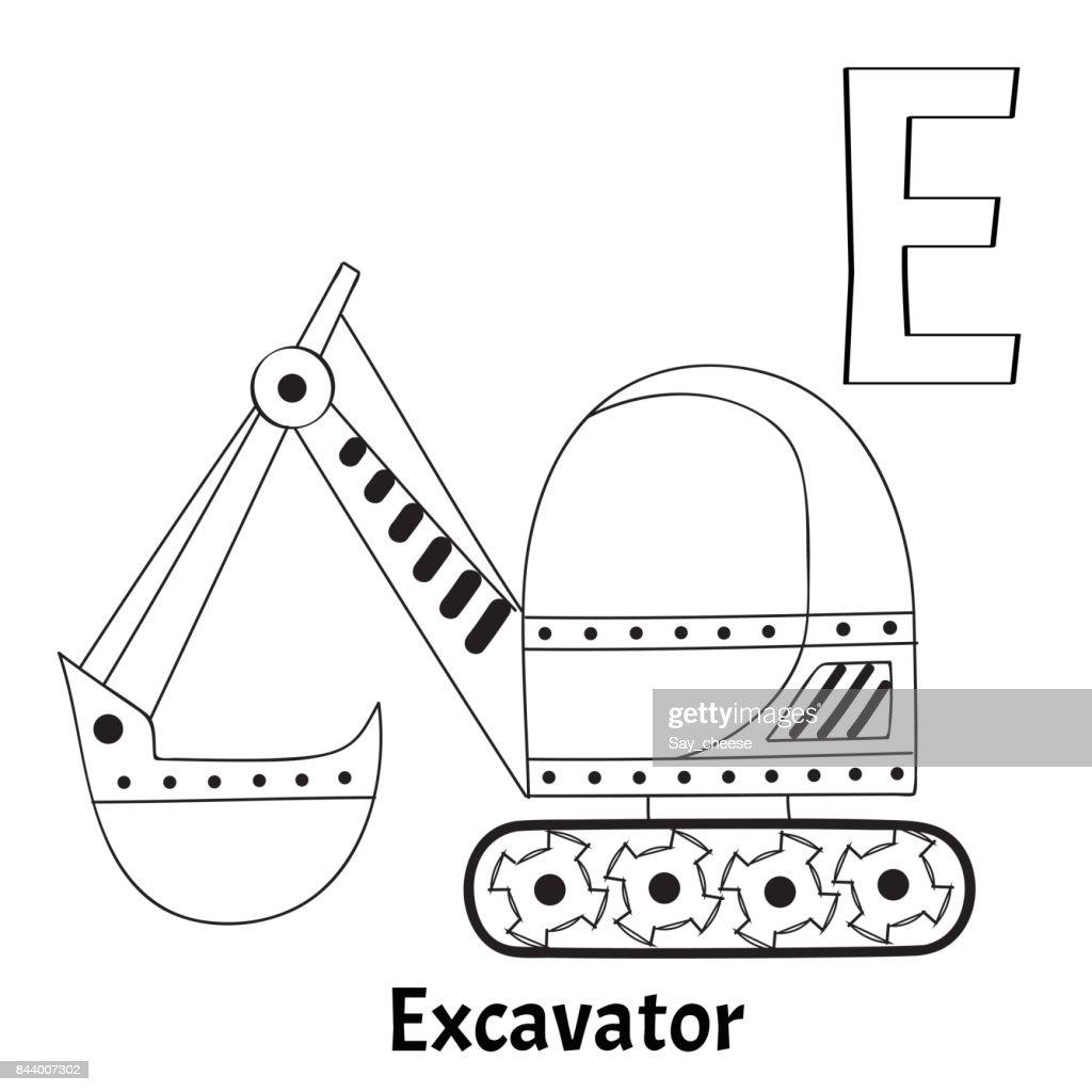 Vektor Alphabet Buchstaben E Malvorlagen Bagger Vektorgrafik Getty
