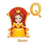 Vector alphabet letter Q. Queen.