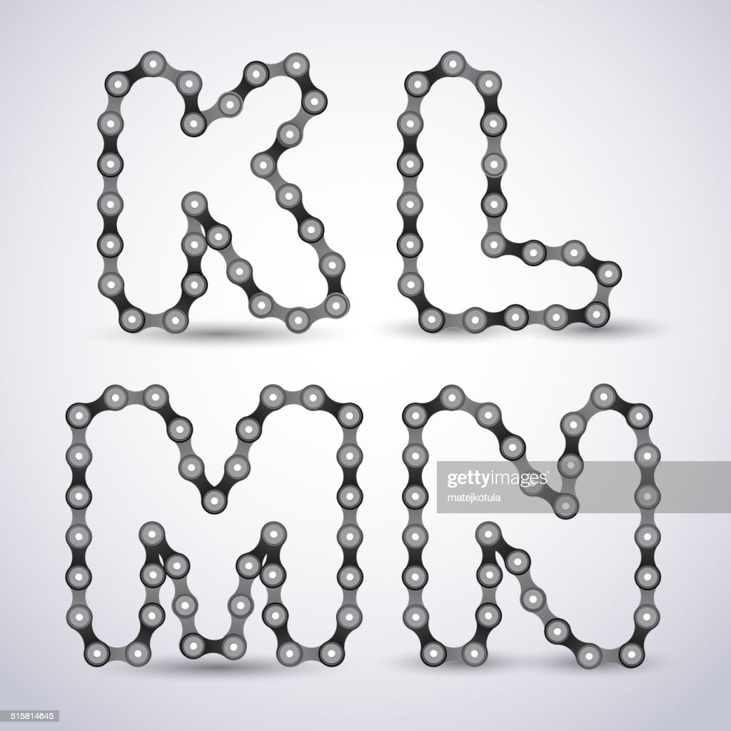 Vector alphabet letters made from Bicycle chain