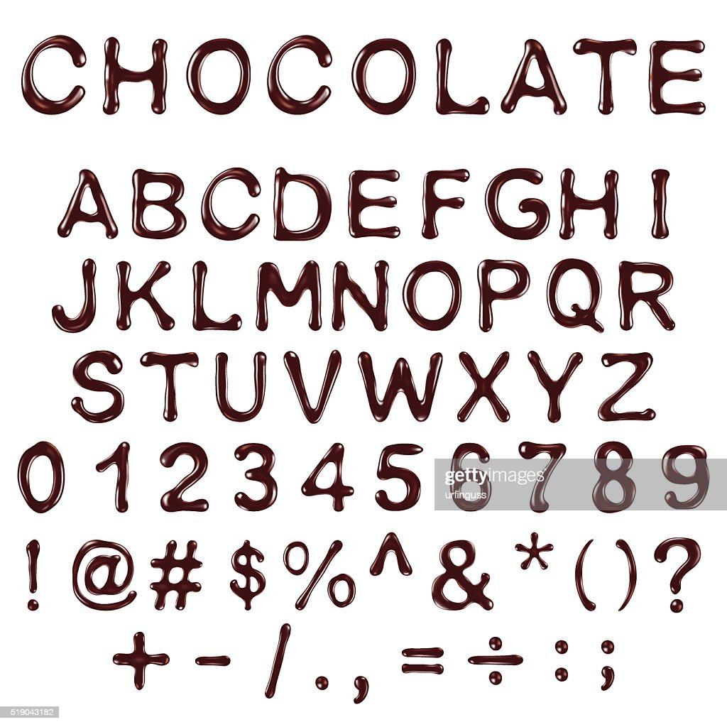 vector alphabet letters, numbers and symbols made of chocolate syrup