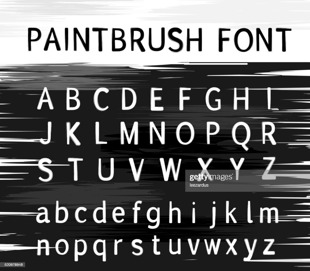Vector alphabet. Modern stamps letters with grunge texture. Paint brush