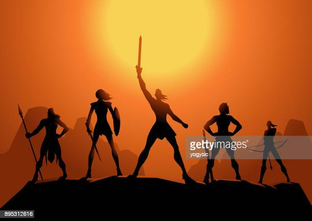 Vector Amazonian Women Warriors Silhouette