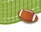 Vector American Football Field and Ball Background