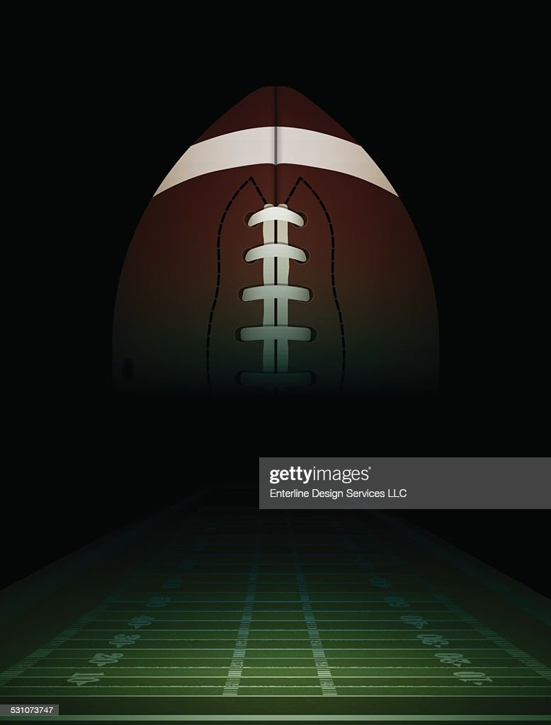 Vector American Football Field and Ball Illustration