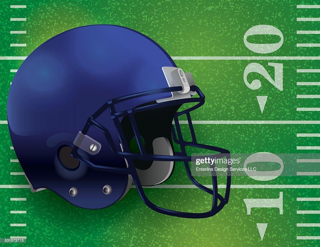 Vector American Football Helmet on Field Illustration